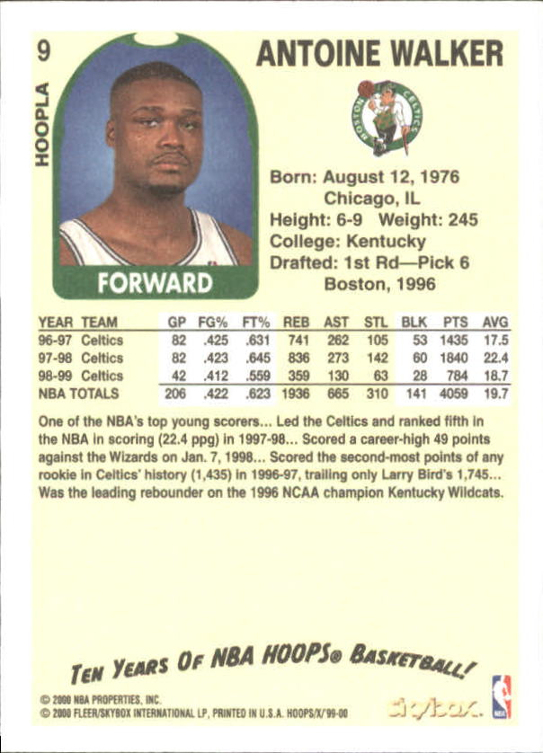 1999-00 Hoops Decade Hoopla #9 Antoine Walker back image