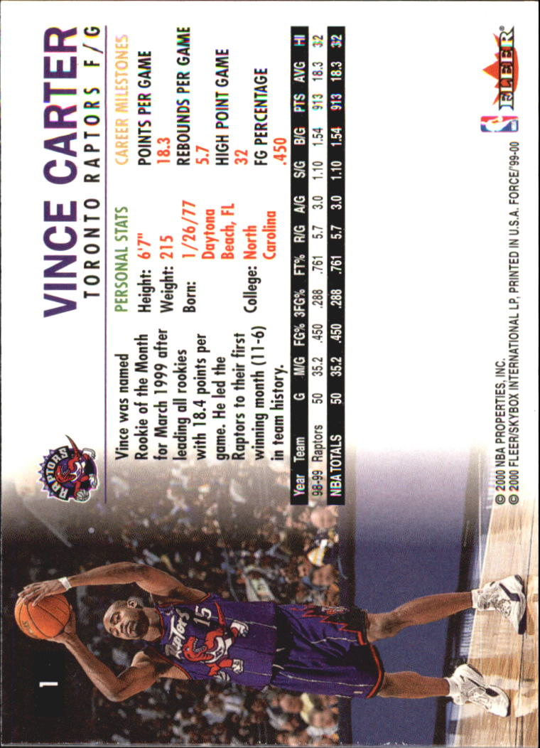 1999-00 Fleer Force #1 Vince Carter back image
