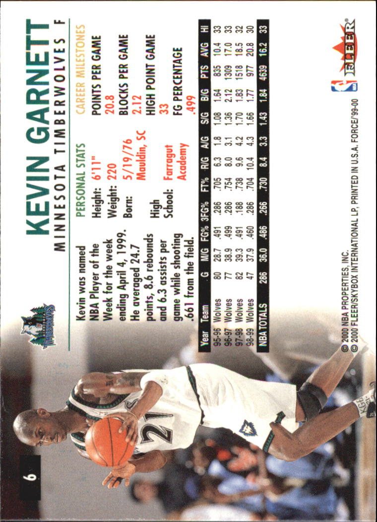 1999-00 Fleer Force #6 Kevin Garnett back image