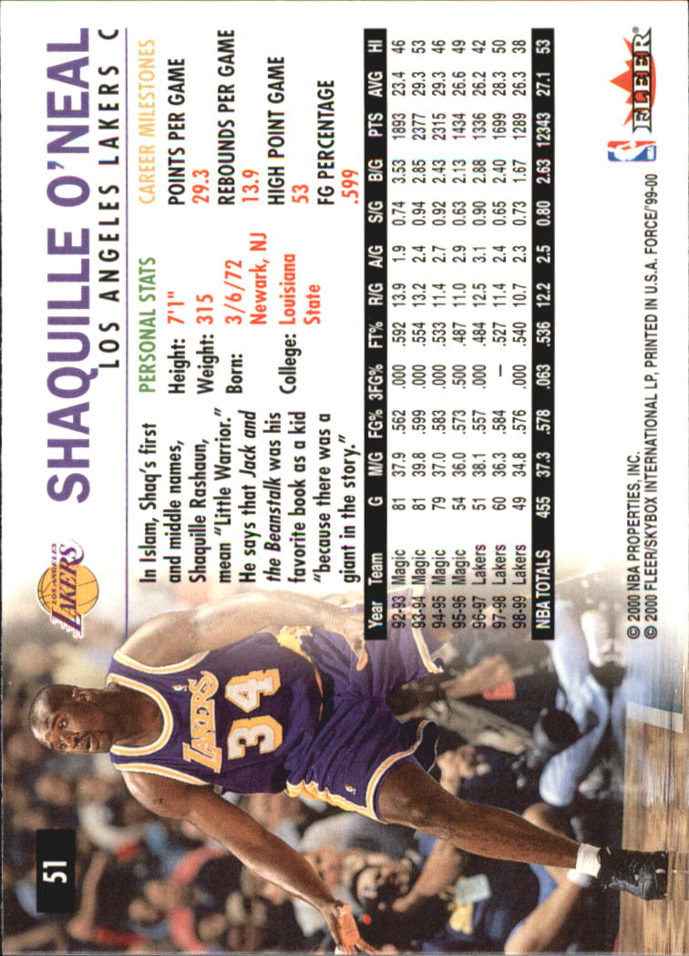 1999-00 Fleer Force #51 Shaquille O'Neal back image