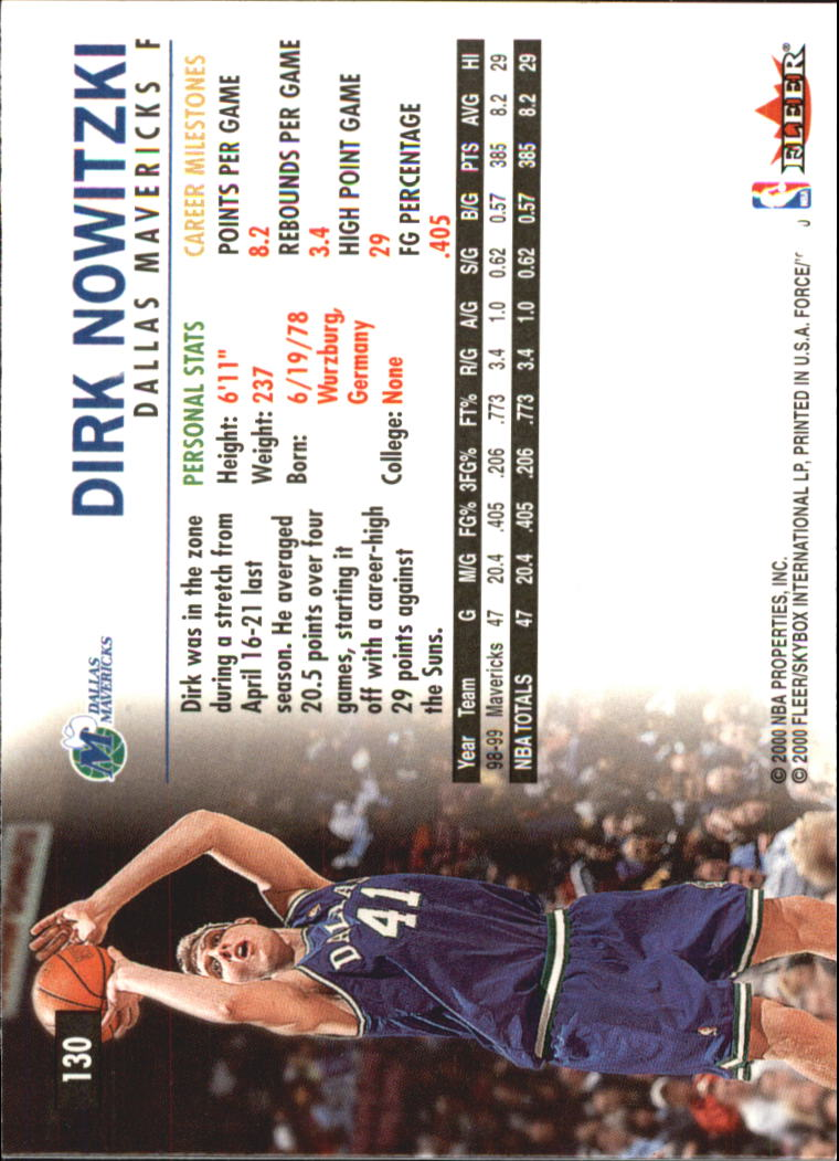 1999-00 Fleer Force #130 Dirk Nowitzki back image