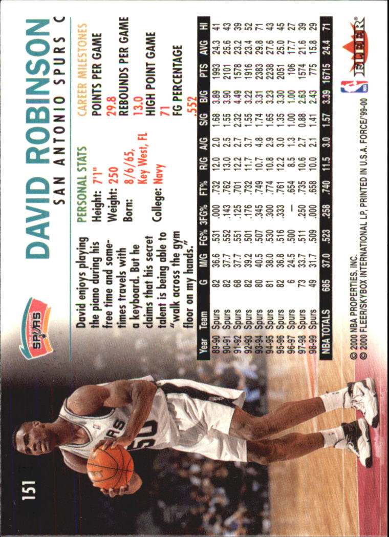 1999-00 Fleer Force #151 David Robinson