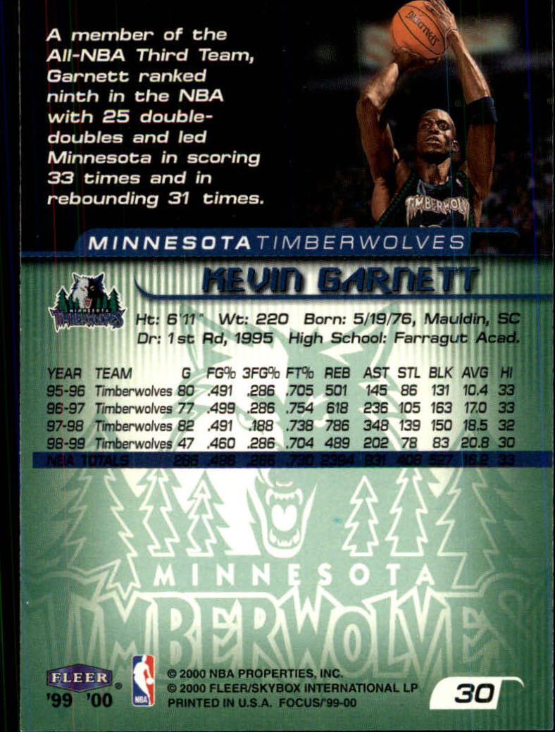 1999-00 Fleer Focus #30 Kevin Garnett back image