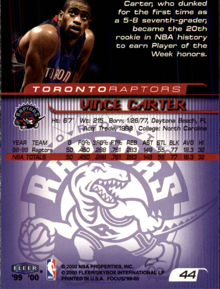 1999-00 Fleer Focus #44 Vince Carter back image