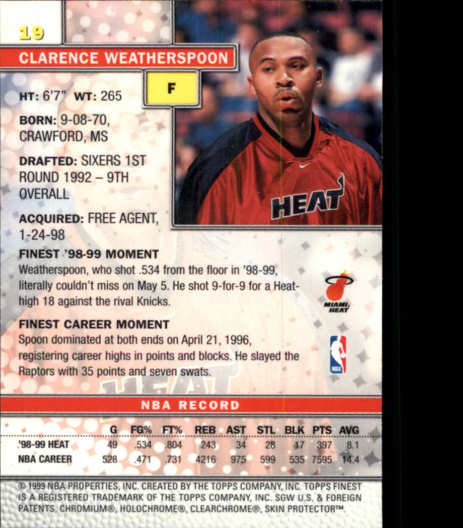 1999-00 Finest #19 Clarence Weatherspoon back image