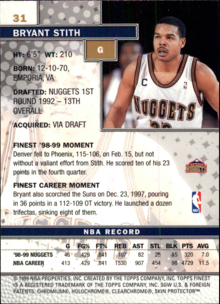 1999-00 Finest #31 Bryant Stith back image