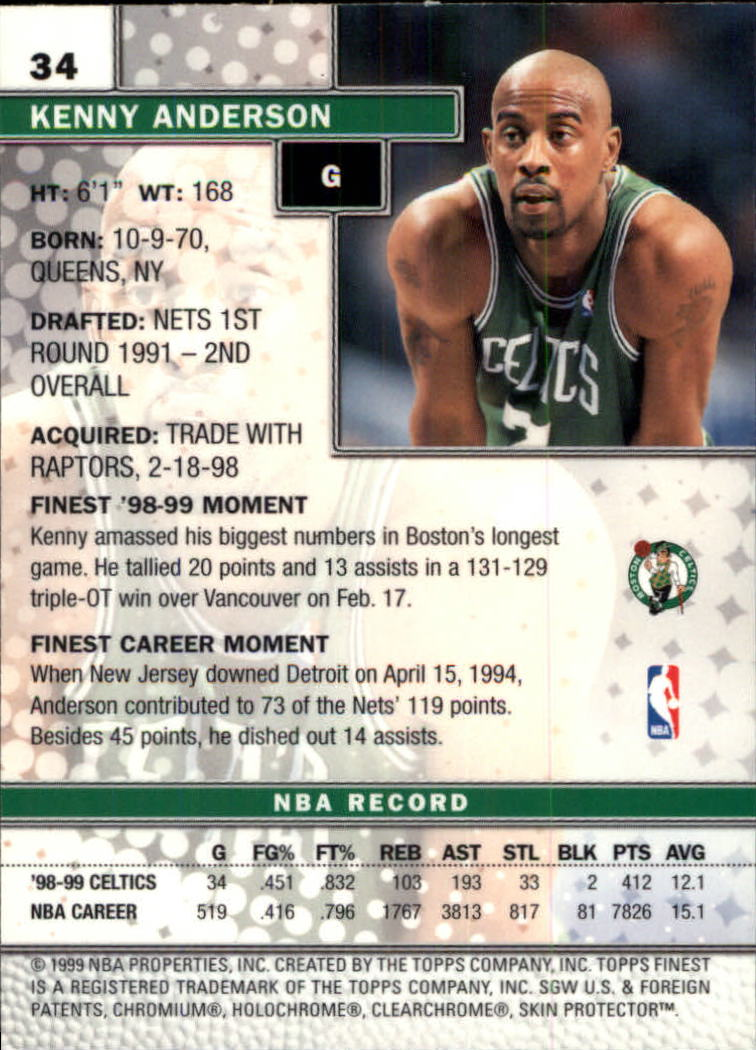 1999-00 Finest #34 Kenny Anderson back image