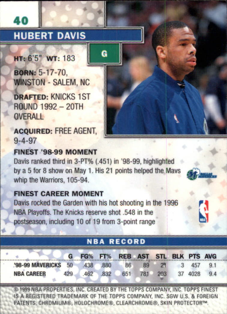 1999-00 Finest #40 Hubert Davis back image