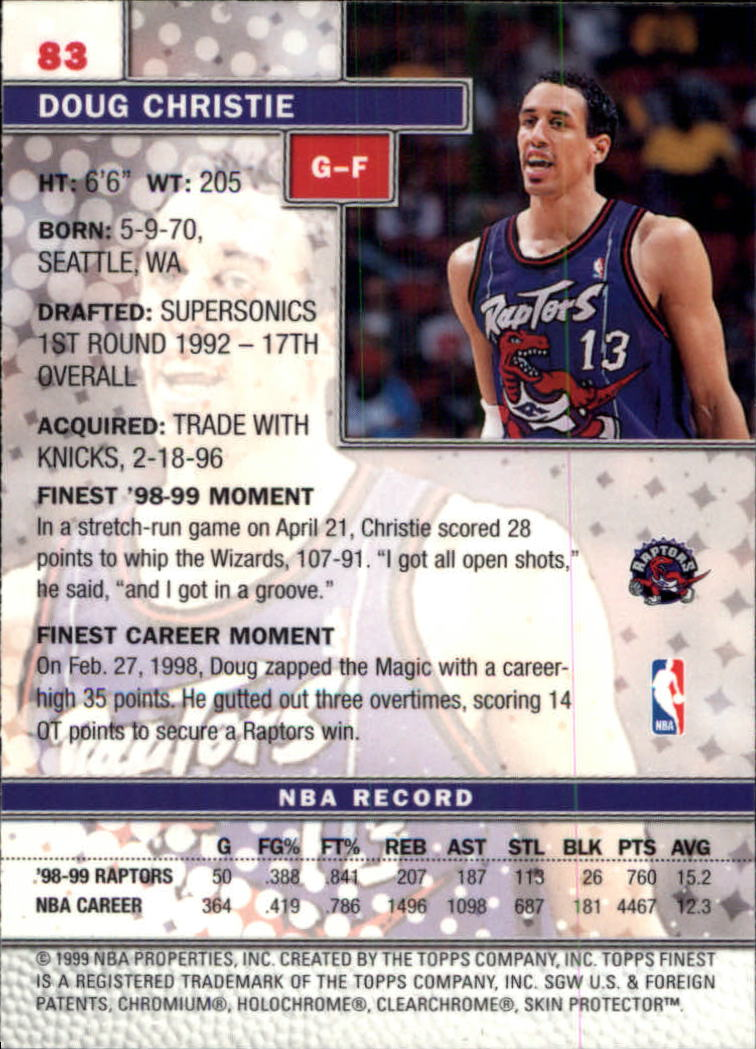 1999-00 Finest #83 Doug Christie back image