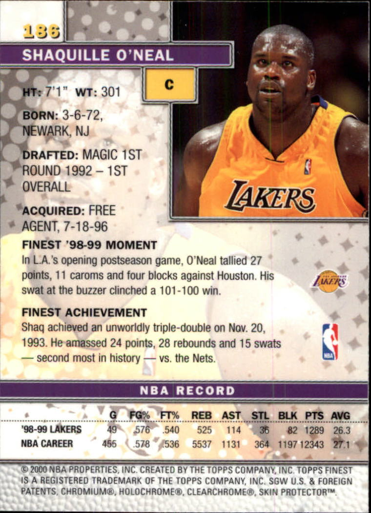 1999-00 Finest #186 Shaquille O'Neal back image