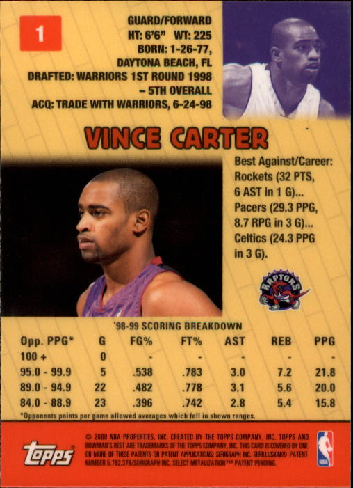 1999-00 Bowman's Best #1 Vince Carter back image