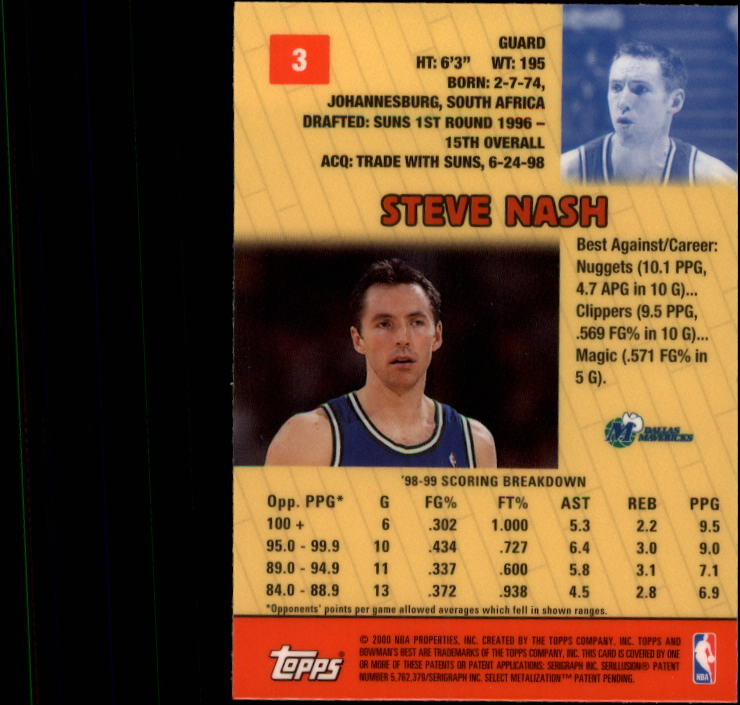 1999-00 Bowman's Best #3 Steve Nash back image