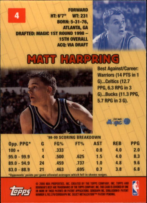 1999-00 Bowman's Best #4 Matt Harpring back image