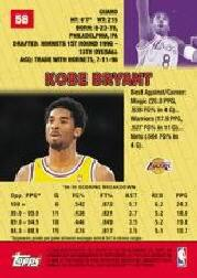 1999-00 Bowman's Best #58 Kobe Bryant back image