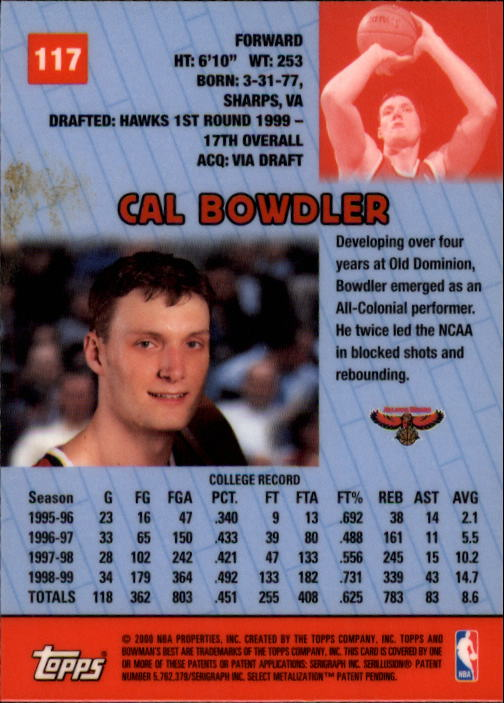 1999-00 Bowman's Best #117 Cal Bowdler RC back image