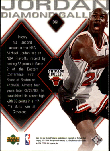 1999-00 Black Diamond Jordan Diamond Gallery #DG1 Michael Jordan back image