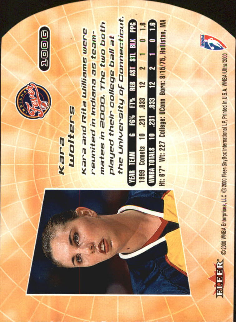 2000 Ultra WNBA Gold Medallion #100 Kara Wolters
