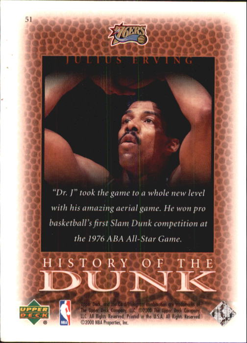 2000 Upper Deck Century Legends #51 Julius Erving HD back image