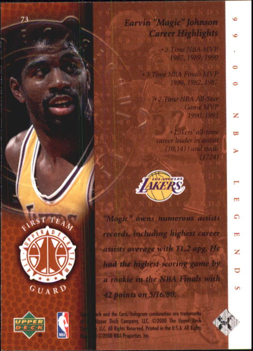 2000 Upper Deck Century Legends #73 Magic Johnson UDT back image