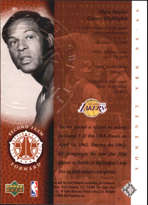 2000 Upper Deck Century Legends #80 Elgin Baylor UDT back image