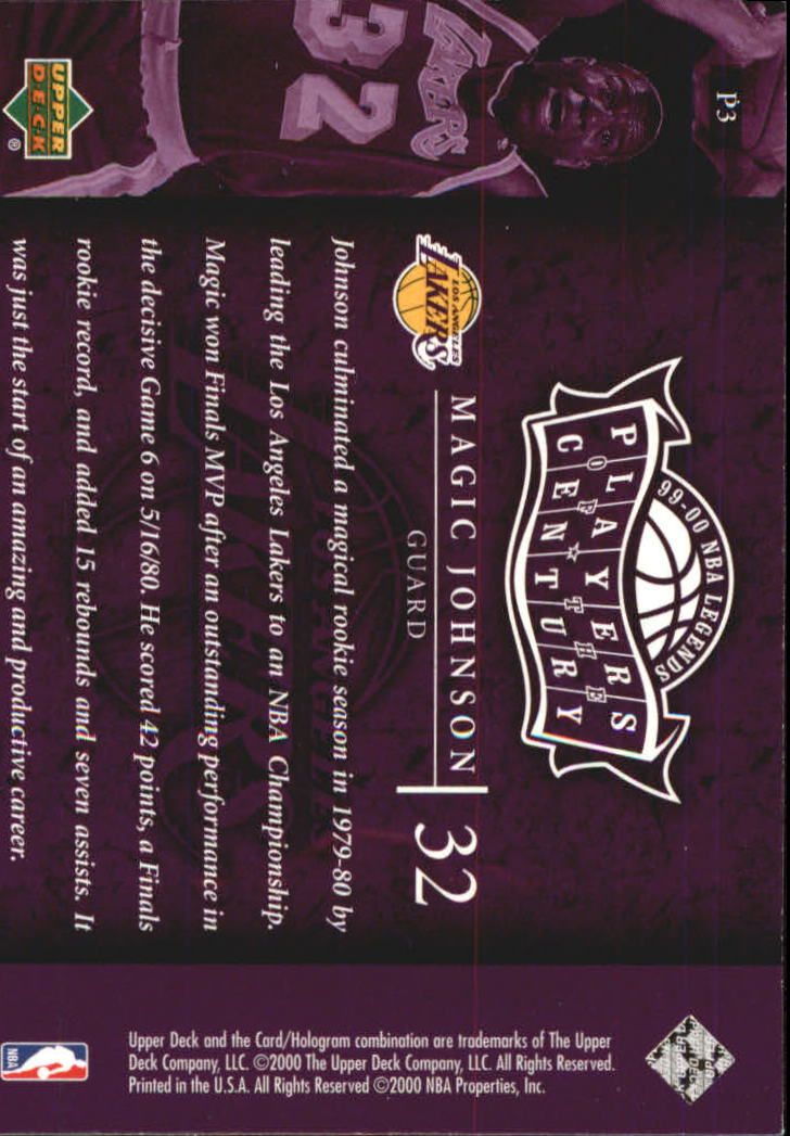 2000 Upper Deck Century Legends Players of the Century #P3 Magic Johnson back image