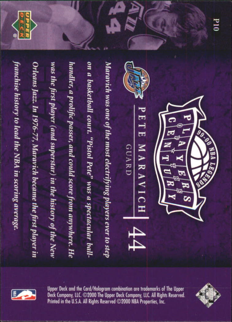 2000 Upper Deck Century Legends Players of the Century #P10 Pete Maravich back image