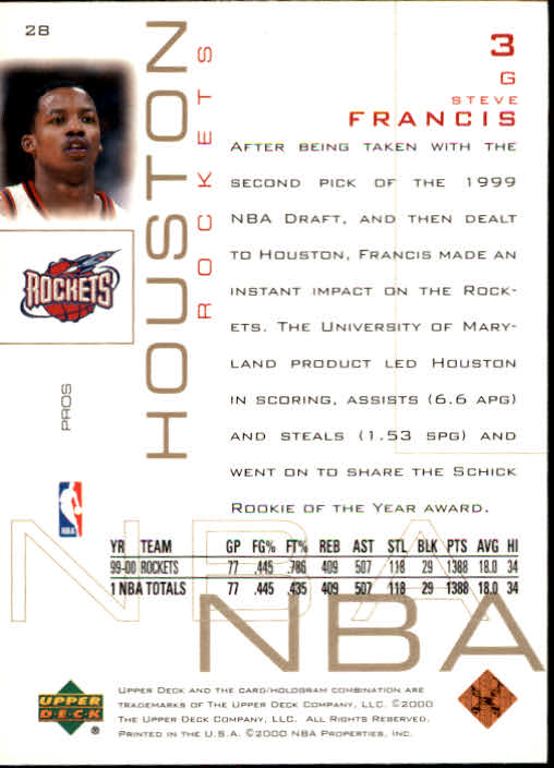 2000-01 Upper Deck Pros and Prospects #28 Steve Francis back image