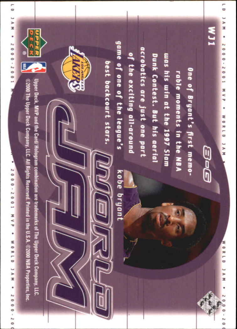 2000-01 Upper Deck MVP World Jam #WJ1 Kobe Bryant back image