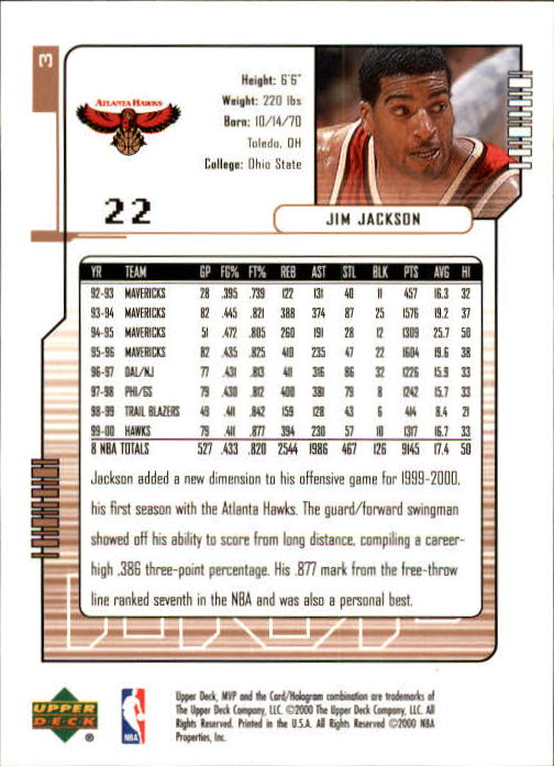 2000-01 Upper Deck MVP #3 Jim Jackson back image