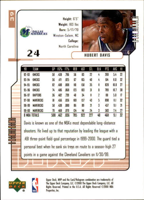 2000-01 Upper Deck MVP #39 Hubert Davis back image