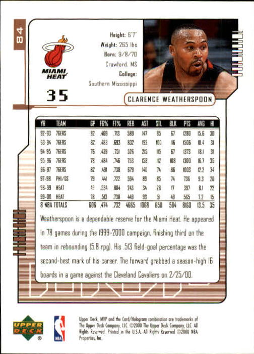 2000-01 Upper Deck MVP #84 Clarence Weatherspoon back image