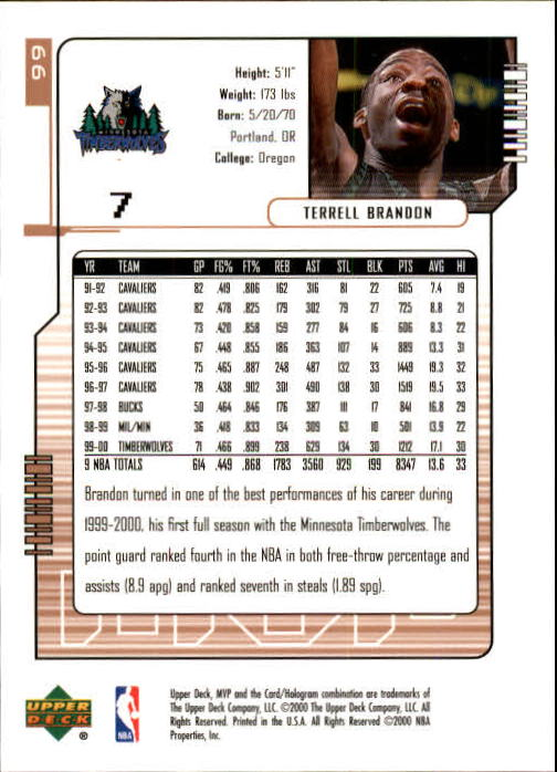 2000-01 Upper Deck MVP #99 Terrell Brandon back image