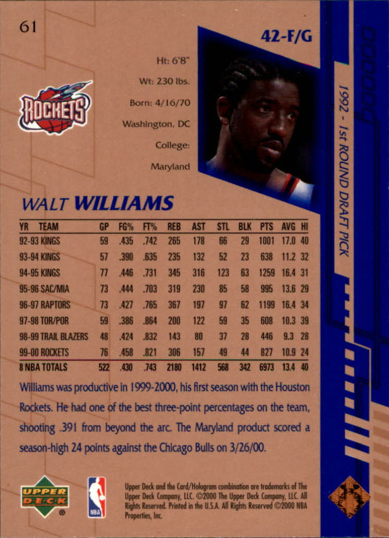 2000-01 Upper Deck #61 Walt Williams back image