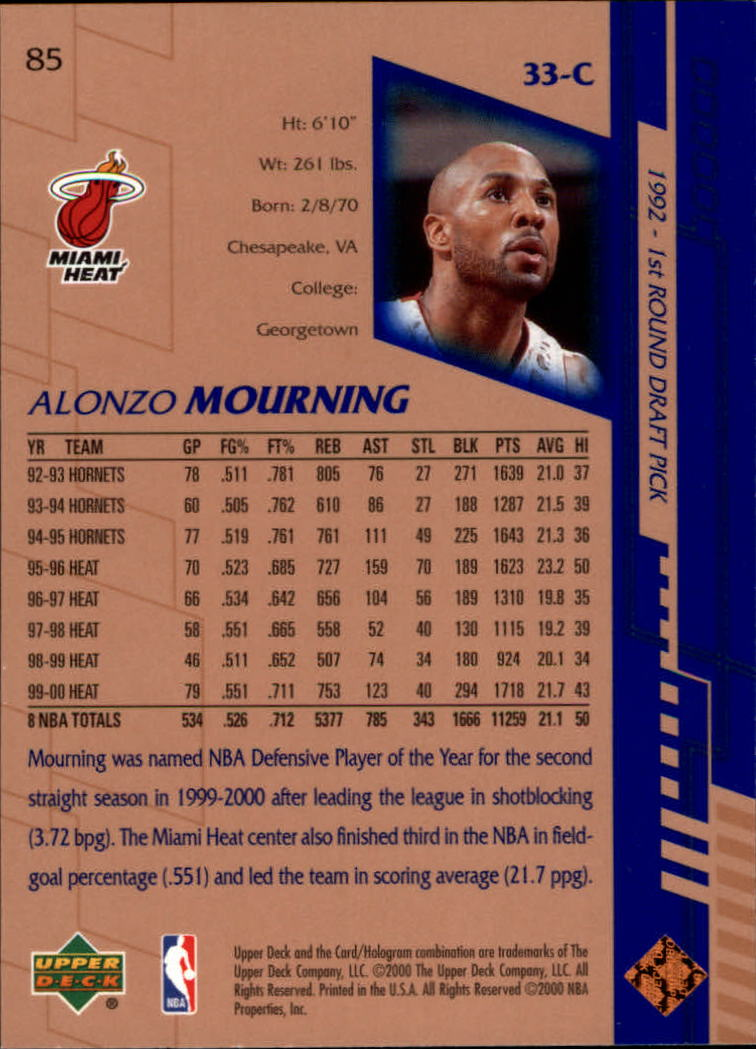 2000-01 Upper Deck #85 Alonzo Mourning back image