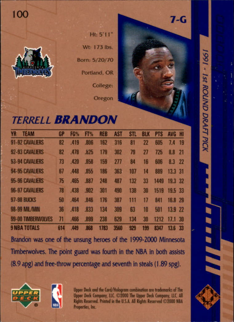 2000-01 Upper Deck #100 Terrell Brandon back image