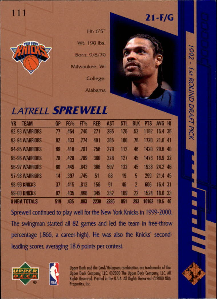 2000-01 Upper Deck #111 Latrell Sprewell back image
