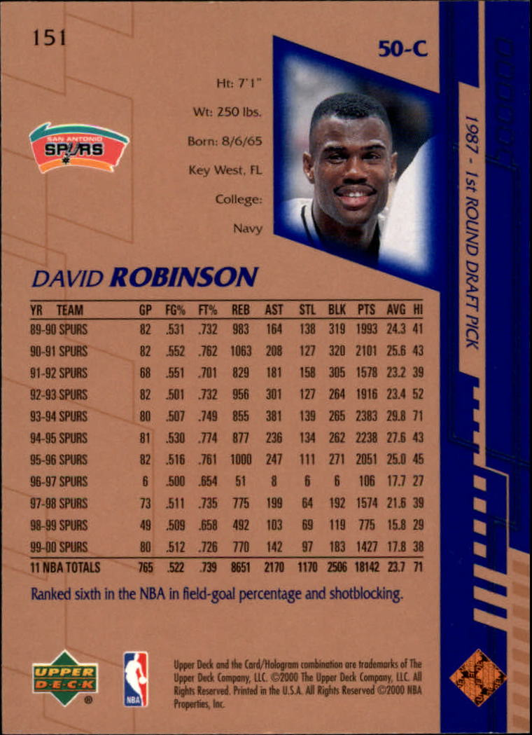 2000-01 Upper Deck #151 David Robinson back image