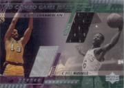 2000-01 Upper Deck Game Jerseys Combo 1 #WCBR Wilt Chamberlain/Bill Russell/50