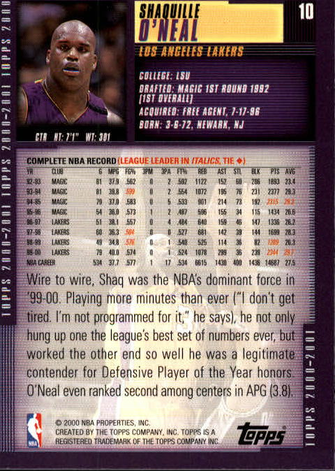 2000-01 Topps #10 Shaquille O'Neal back image