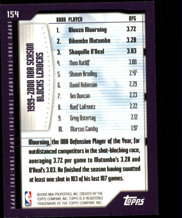 2000-01 Topps #154 Alonzo Mourning/Dikembe Mutombo/Shaquille O'Neal SL back image