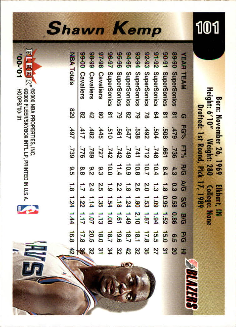 2000-01 Hoops Hot Prospects #101 Shawn Kemp back image
