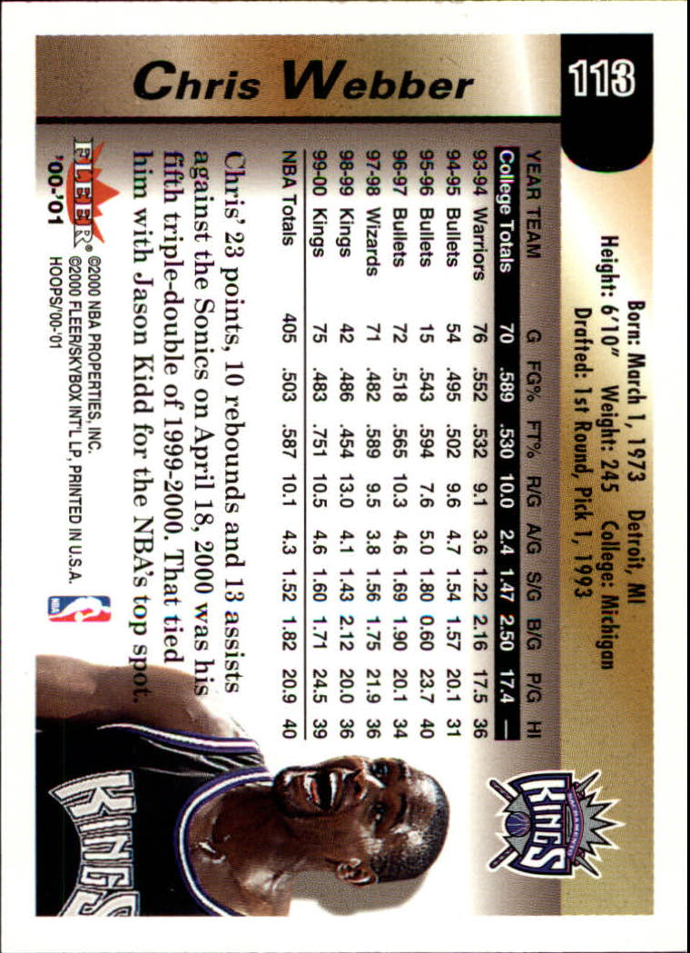 2000-01 Hoops Hot Prospects #113 Chris Webber back image