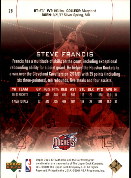 2000-01 SP Authentic #28 Steve Francis back image