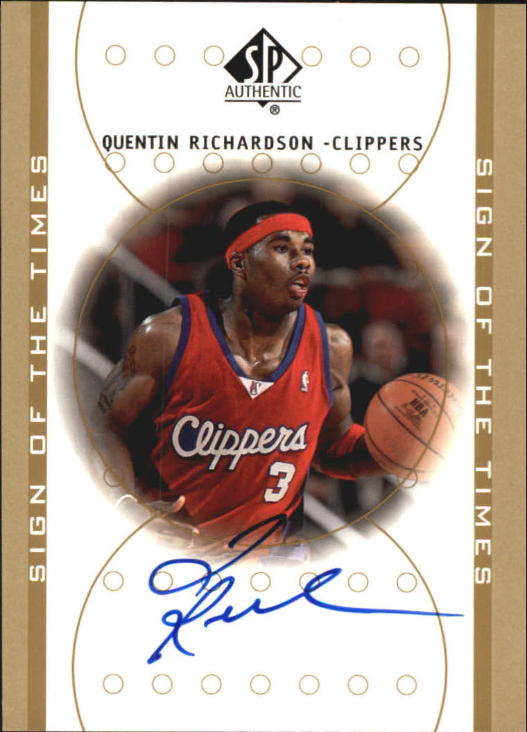 2000-01 SP Authentic Sign of the Times #QR Quentin Richardson