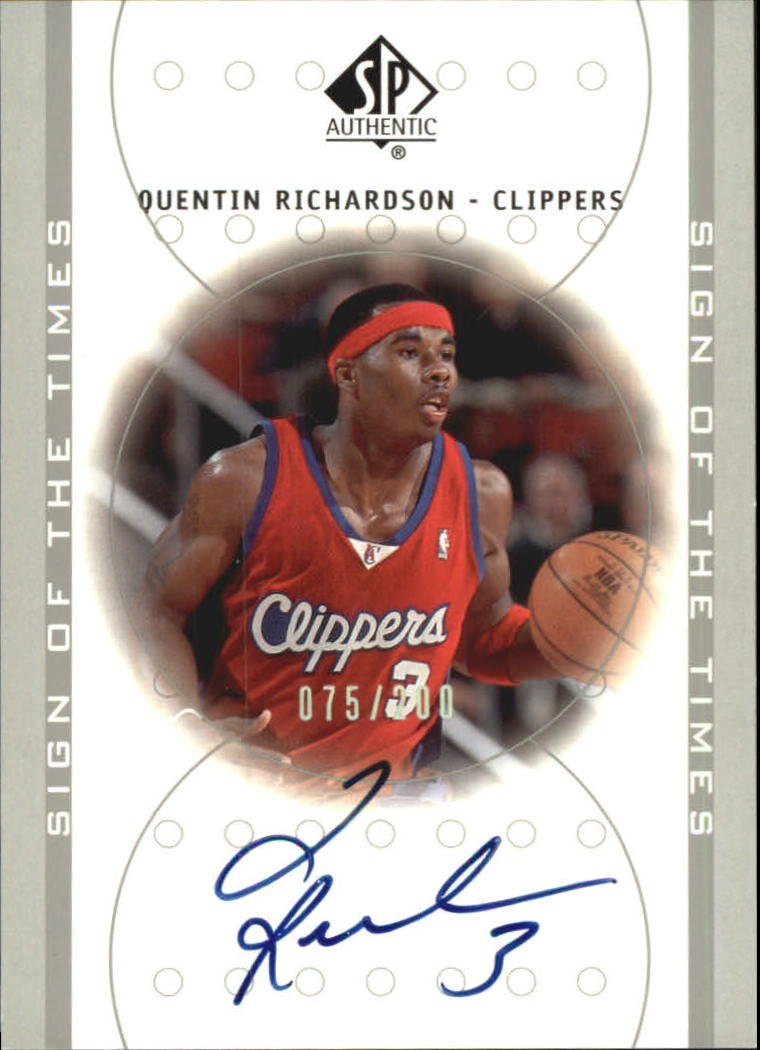 2000-01 SP Authentic Sign of the Times Platinum #QR Quentin Richardson/200