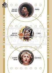 2000-01 SP Authentic Sign of the Times Triple #DRMGLB Julius Erving/Magic Johnson/Larry Bird