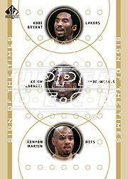 2000-01 SP Authentic Sign of the Times Triple #KBKGKM Kobe Bryant/Kevin Garnett/Kenyon Martin