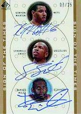 2000-01 SP Authentic Sign of the Times Triple #KMSSDA Kenyon Martin/Stromile Swift/Darius Miles