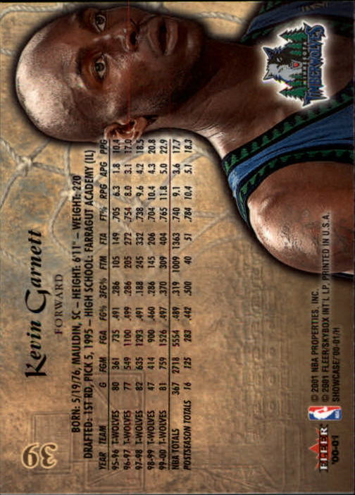 2000-01 Fleer Showcase #39 Kevin Garnett back image