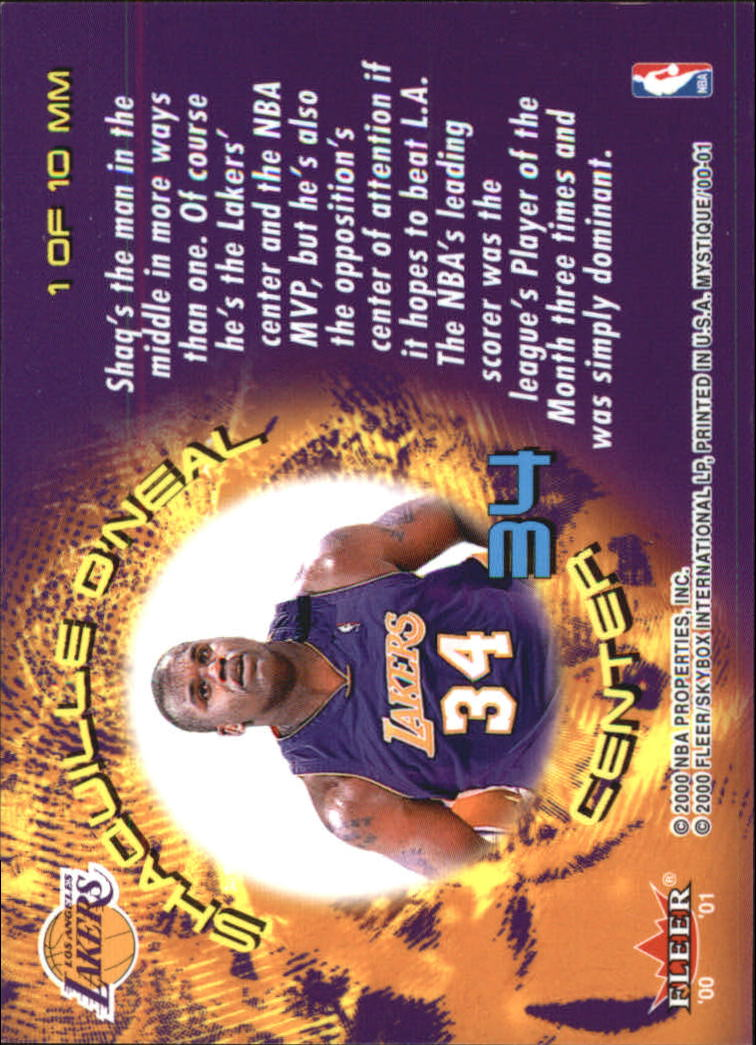 2000-01 Fleer Mystique Middle Men #MM1 Shaquille O'Neal back image